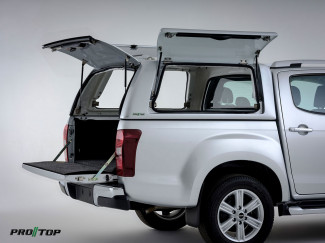 Isuzu D-Max gullwing canopy with solid side doors and tailgate