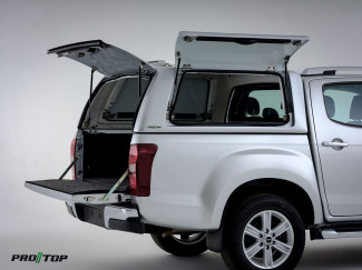 Isuzu D-Max Pro//Top Gullwing Hard Top Canopy with Glass Rear Door – Splash White Coloured